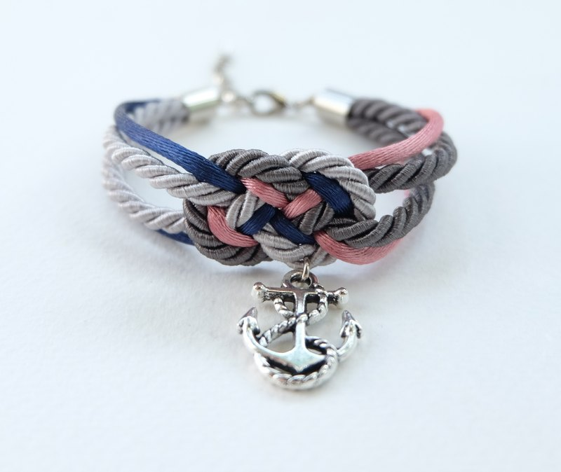 Navy/Gray/Pink infinity knot rope bracelet with anchor charm