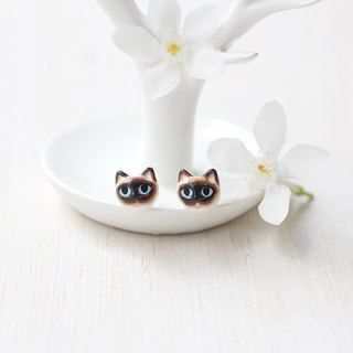 Siamese Cat Earrings, Cat Stud Earrings, cat lover gifts