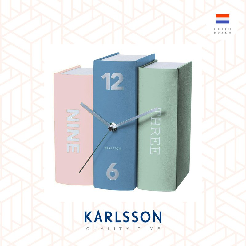 Karlsson, 设计师书本枱钟 Table clock Book pastel tones paper