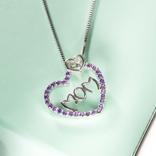 母亲节 礼物 送给妈妈 颈链 项链 心形 MOM 紫色 锆石 心心 Mother's Day Gift Present Heart Pendant Silver Necklace