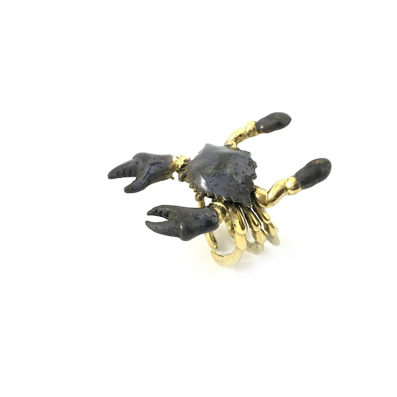 Zodiac Crab ring is for Cancer in Brass and oxidized antique color ,Rocker jewelry ,Skull jewelry,Biker jewelry