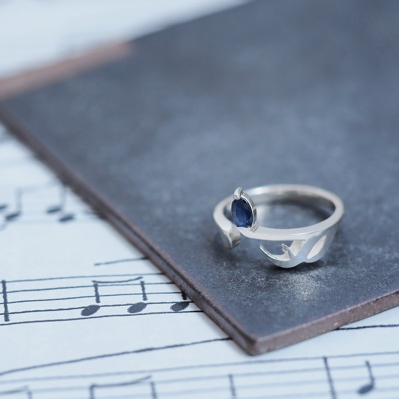 Natural sapphire 16th note ring 925 silver