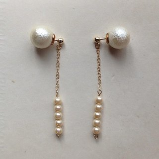 2 way 14 kgf vintage glass pearl × pearl catch pierced earrings ear needle