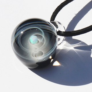 Blink twice as much as you. Glass pendant with white opal Space universe