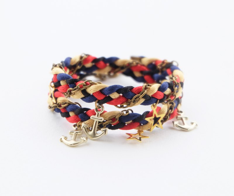 Black blue red gold double layer wrap bracelet with anchor and star charms