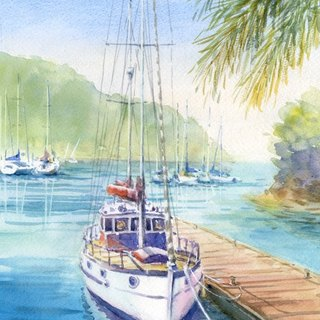 Watercolor picture Yacht rest