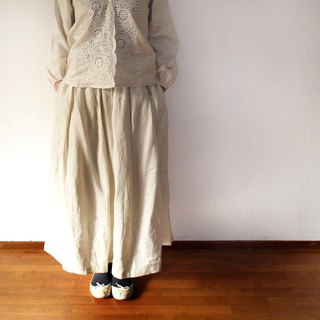 Free shipping / linen 100percent waist tuck long skirt /  rm-32 / ivory