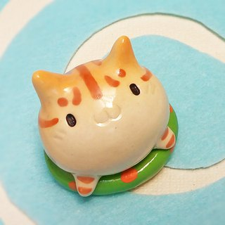 Cat on a floating ring with glaze # 1 Tabby cat paper weight of ceramic