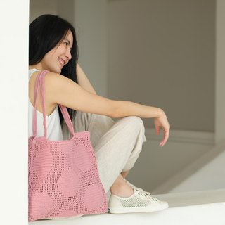 Crochet Polka Dot Tote Bag | Rosy