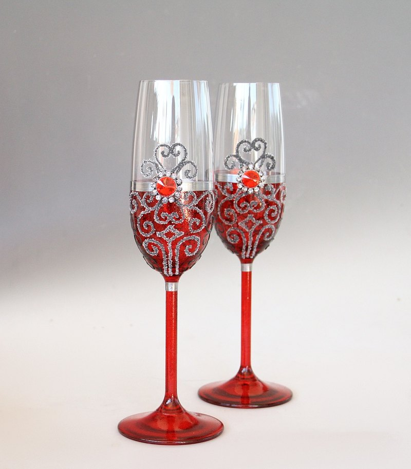 Champagne Wine Glasses Red Wedding Hand Painted Set of 2