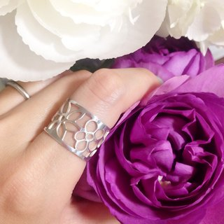 Silver 950 ring such as painting: Flowers design / US size 5-10 <unisex>