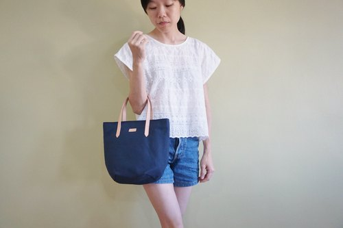 Navy Blue Petite Canvas Tote Bag with Leather Strap for her - Casual Bag