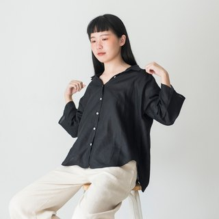 Black Linen Oversized Shirt