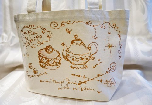 Direct drawing tote bag (tea time · W)