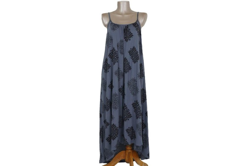 Quilt pattern camisole asymmetry long dress gray
