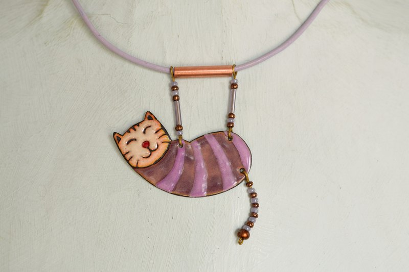 Enamel Cat, Enamel Necklace, Cat Necklace, Pink Cat, Pink and Purple, Boho Cat