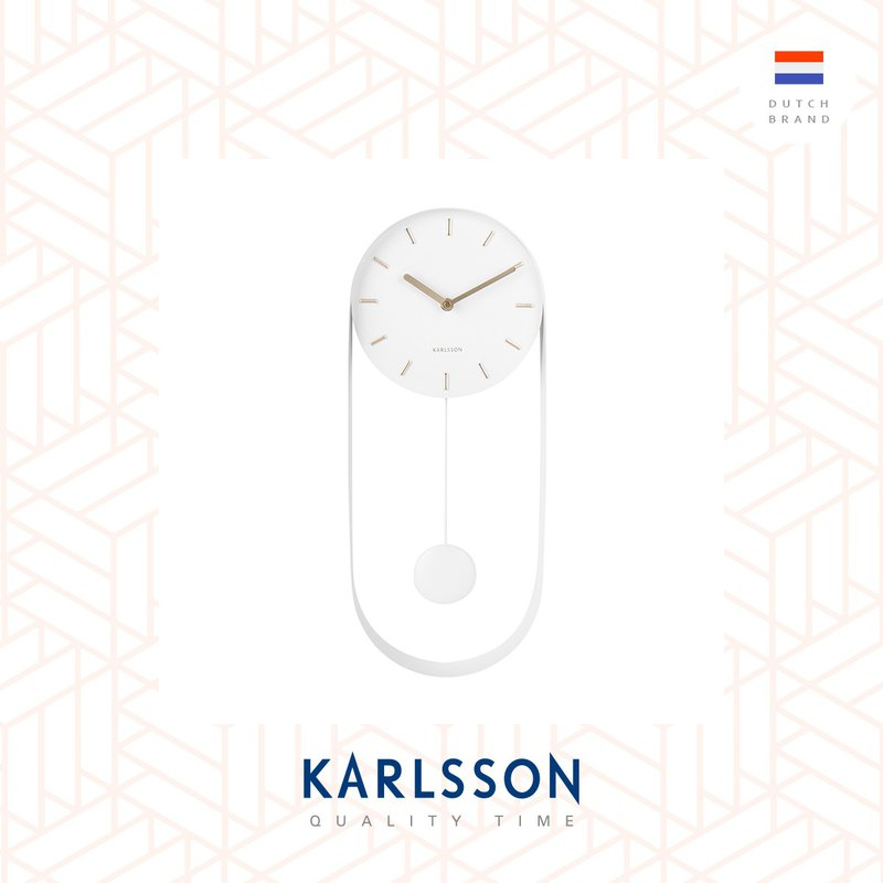 荷兰Karlsson 50cmWall clock Pendulum Charm steel white摇摆钟