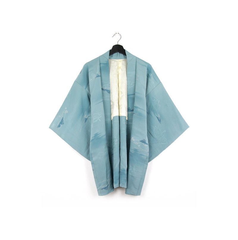 Back to Green-日本带回羽织 湖水山林 /vintage kimono