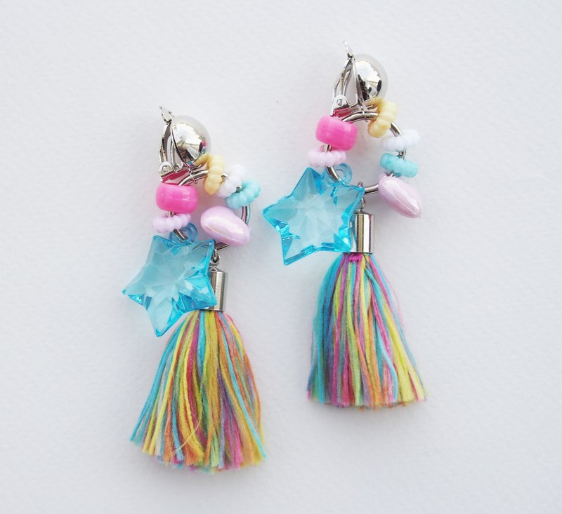 Pastel bead circle and colorful rainbow tassel earrings