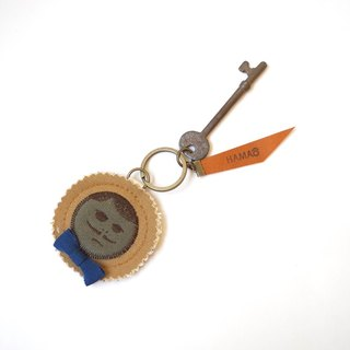japan vintage key holder - beige canvas × blue ribon