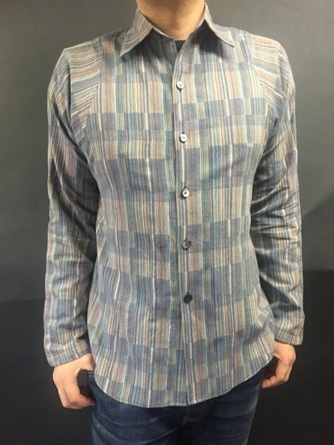 Long-sleeved woven fabric Japanese pattern shirt (grid pattern)
