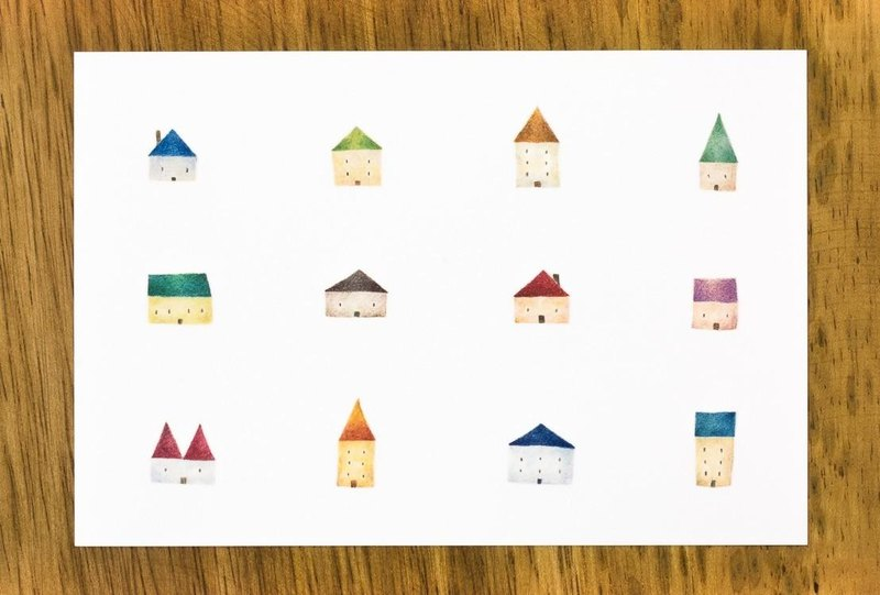 "4 pieces set. Like a picture book. Postcard ""Multicolored House"" PC-48"