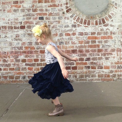 Girls Flamenco Skirt in Deep Blue Chiffon
