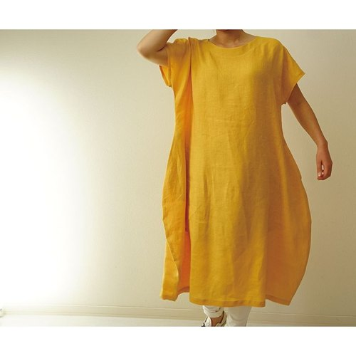 [Wafu] Ya flax (Gaama) linen 100% French sleeve Cocoon one piece / cambogia touou (Yellow-coloured) a41-18