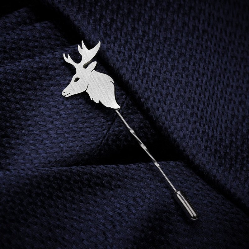 Wedding Lapel Pin - Animal Pin - Custom Lapel Pin - 925 Silver Lapel Pin - Deer
