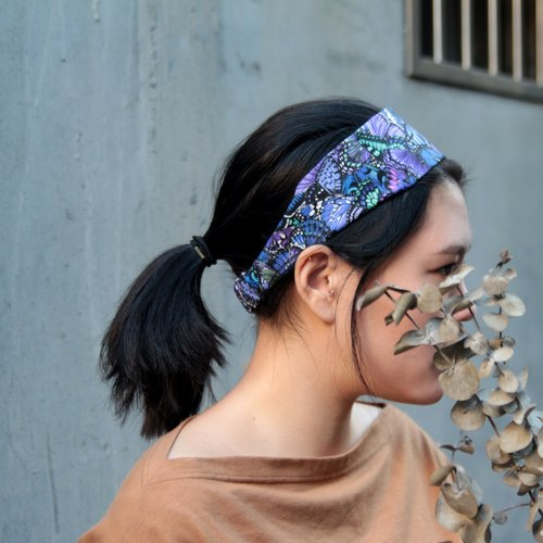 倒逆的蝶/紫色手工一字松紧发带_The Inversed Butterfly//cotton/Taiwan single elastic hair band