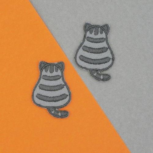 Mini Tabby Cat Iron Patch (Grey)