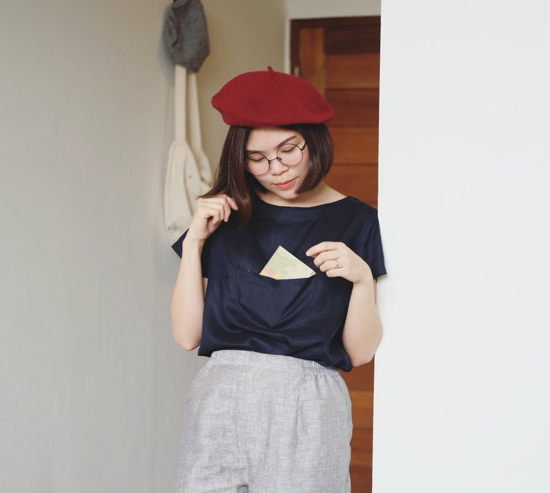 Doraemin Pocket Blouse ( Linen Navy )