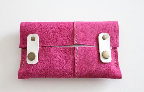 Leather of tissue case / suede pink