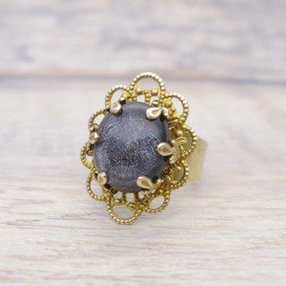 Galaxy, Brass and glass with shiny fine powder, classical oval shape ring, Space black