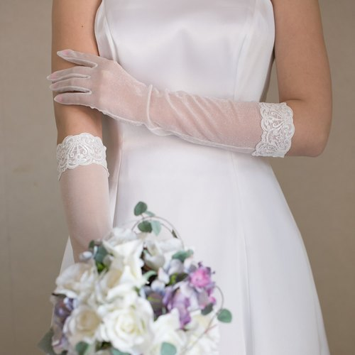 Wedding glove organza Long Grove [Lucia]] elbow under length