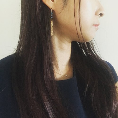 [Earrings] Chic black fringe earrings of freshwater pearl + 14 KGF / BalancerPr 01