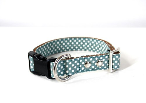 Moss green simple dot medium size dog collar M size