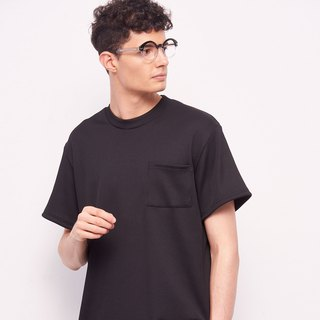 Stone@s Rib T-shirt In Black / 罗纹 口袋 短袖 黑色