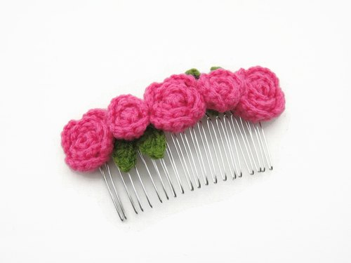 Crochet Roses Hair Comb Slides - Hot Pink