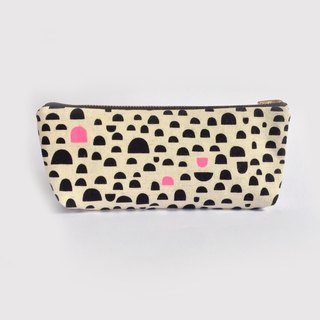Cute Pencil Case, Pencil Pouch, Canvas, Black and Pink, Mountain Abstract