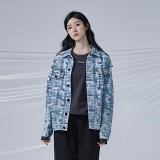 DYCTEAM - Cross Pattern Jacquard Jacket丹宁缇花水洗雪花外套