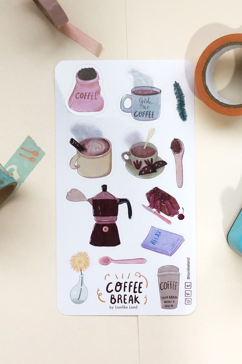Coffee Break stickers sheet - Coffee Addict, Planner Stickers, Notebook  Sticker