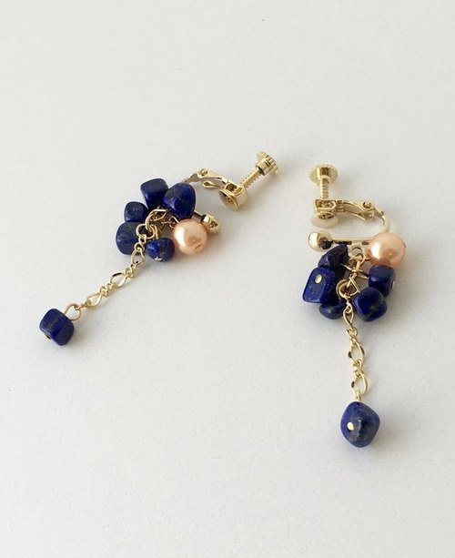 Lapis lazuli and pink pearl earrings or earrings