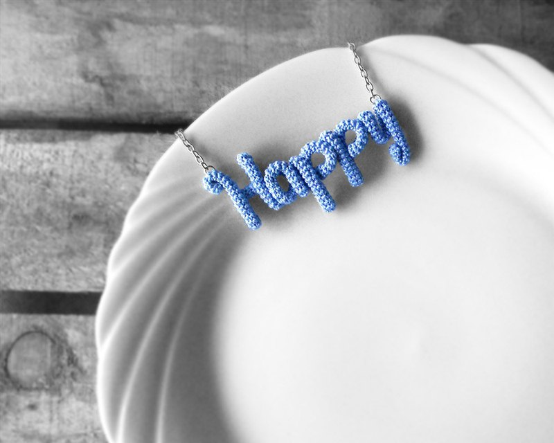 Happy Necklace Blue Crochet Inspirational Word Pendant