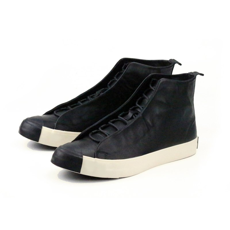 TEXTURE M1164 Black  leather boots sneakers