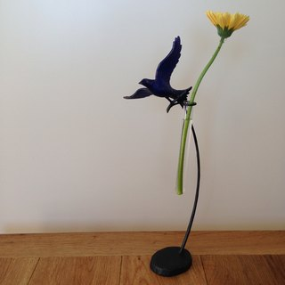 Floral Ornament made by Rothian Iron Bubbles filled with blue birds picking flowers