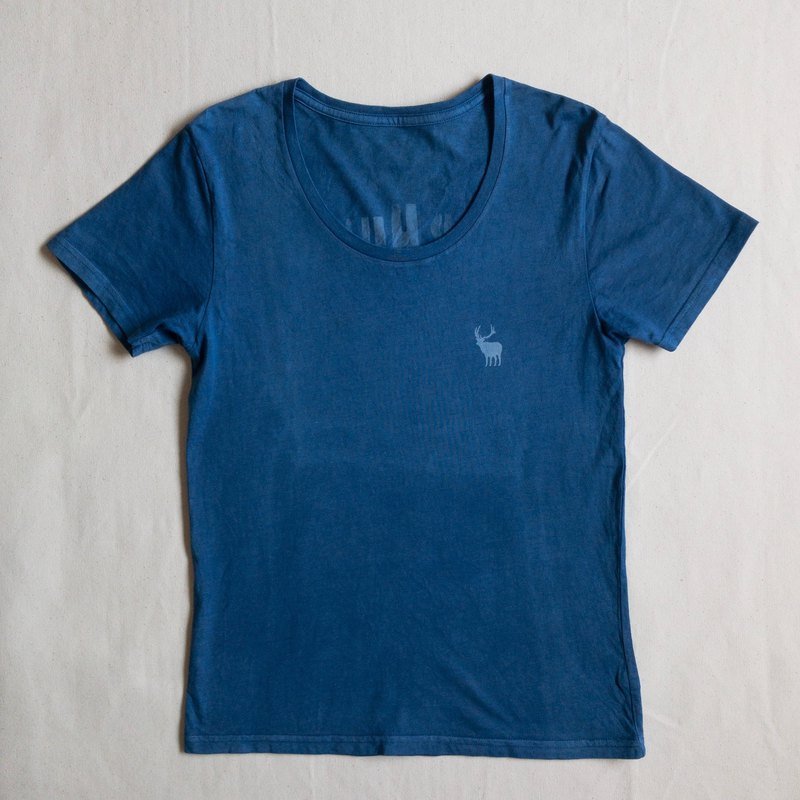 Deer Beer Hunter U neck TEE Indigo dyed organic cotton