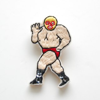 【Order Production】 Yellow mask wrestler embroidery brooch