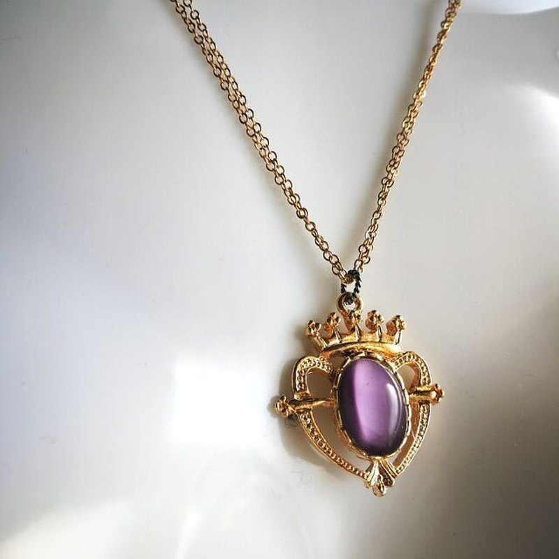 Crown Heart Double Chain Necklace Purple Moonstone 1940-50's Czech Vintage