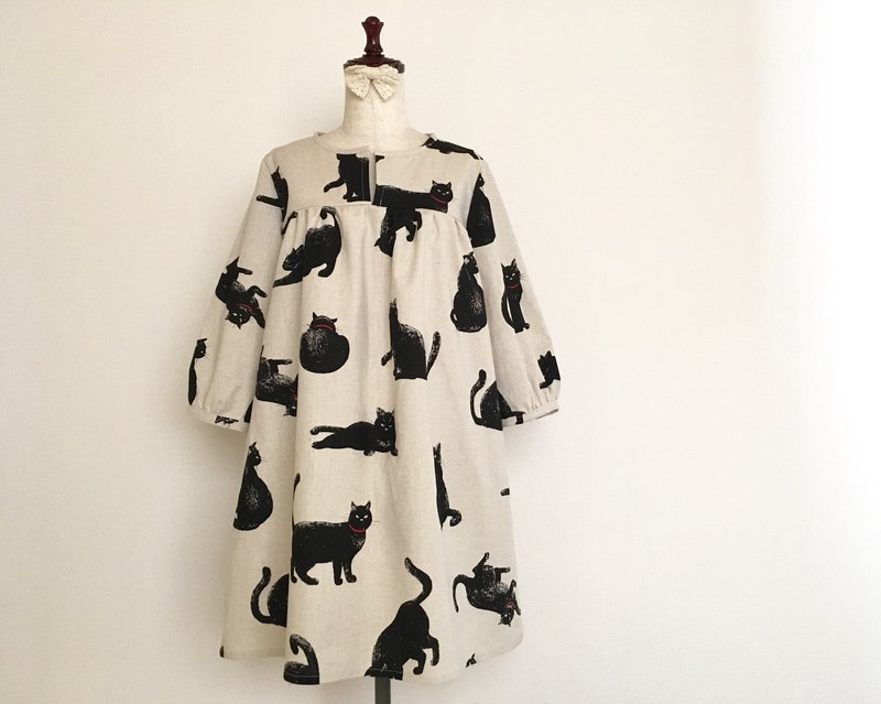 Konochiko black cat gather one piece three-quarter sleeve cotton linen creation